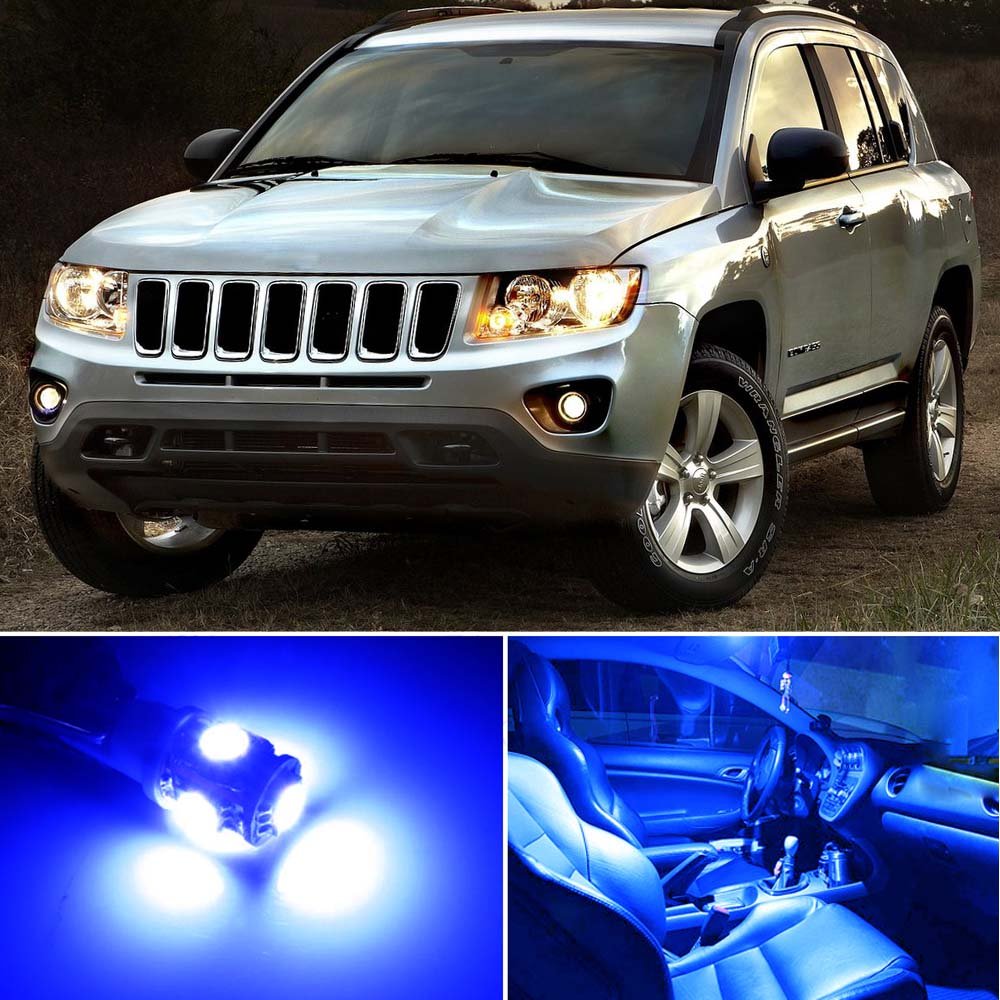 8 x premium blue led lights interior package for jeep - 2016 jeep compass interior lights ...