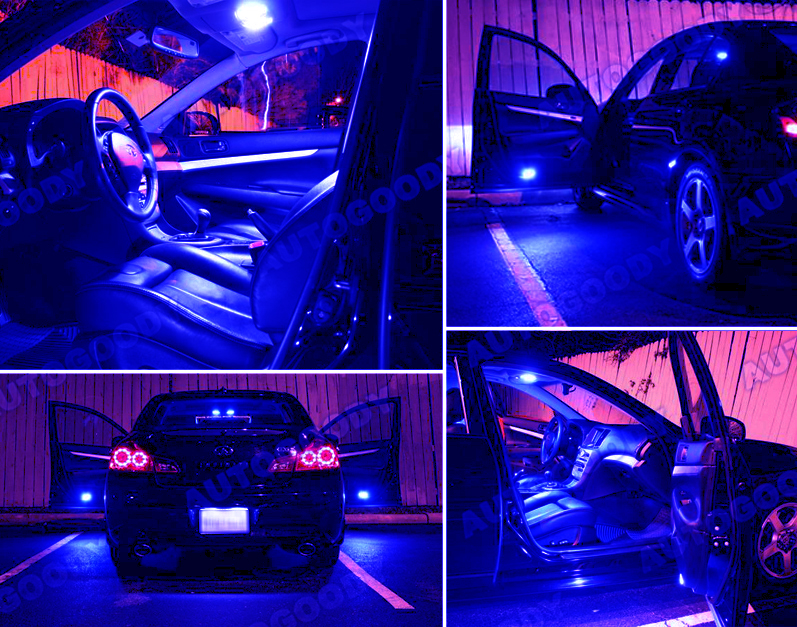 13 x premium blue led lights interior package kit for infiniti g35 ebay. Black Bedroom Furniture Sets. Home Design Ideas